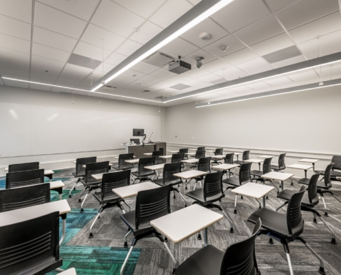 classroom of desks in Tulane Richardson Hall renovation | DonahueFavret General Contractor | Louisiana and Gulf South