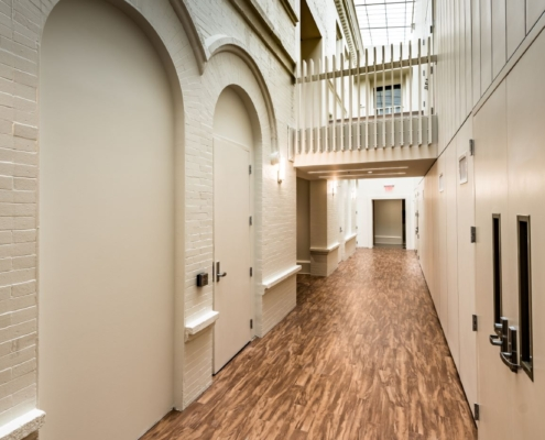 hallway and second story bridge in Tulane Richardson Hall renovation | DonahueFavret General Contractor | Louisiana and Gulf South