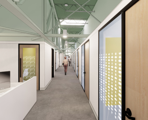 rendering of 2nd floor corridor Second Harvest Food Bank renovations and additions | DonahueFavret General Contractor | Louisiana and Gulf South