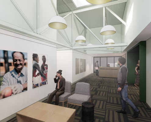 rendering of 2nd floor lobby Second Harvest Food Bank renovations and additions | DonahueFavret General Contractor | Louisiana and Gulf South