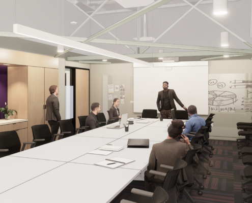 rendering of meeting room Second Harvest Food Bank Renovations and additions | DonahueFavret General Contractor | Louisiana and Gulf South