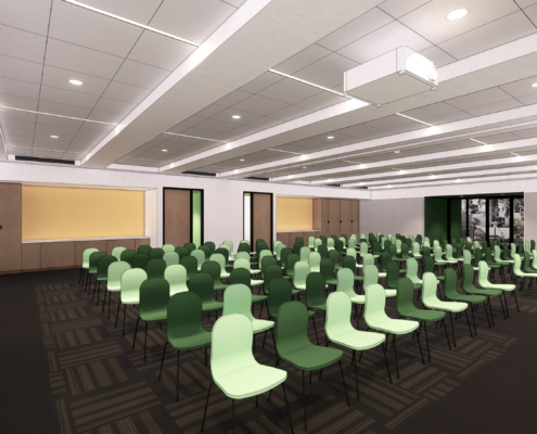 rendering of large meeting room Second Harvest Food Bank renovations and additions | DonahueFavret General Contractor | Louisiana and Gulf South