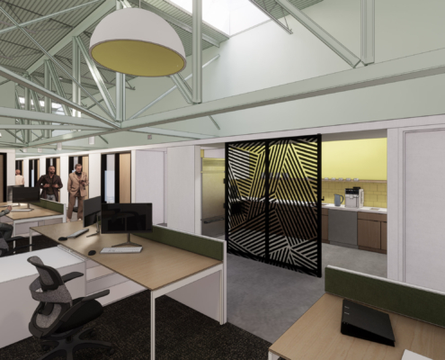 rendering of small break room Second Harvest Food Bank renovations and additions | DonahueFavret General Contractor | Louisiana and Gulf South