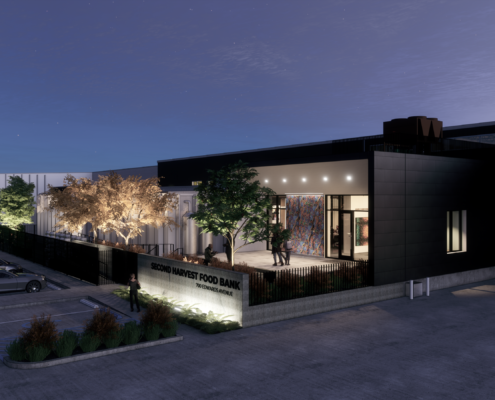 Rendering of exterior at night of the Second Harvest Food Bank | DonahueFavret General Contractor | Louisiana and Gulf South