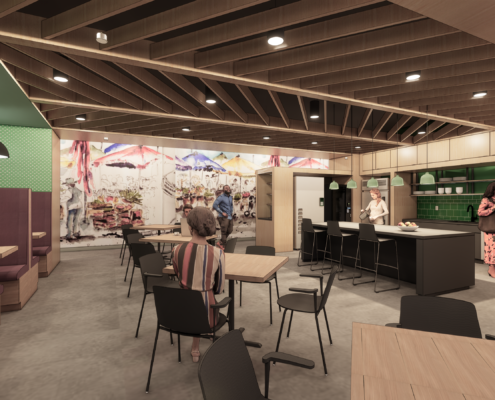 Rendering of the Break Room of Second Harvest Food Bank renovations and additions
