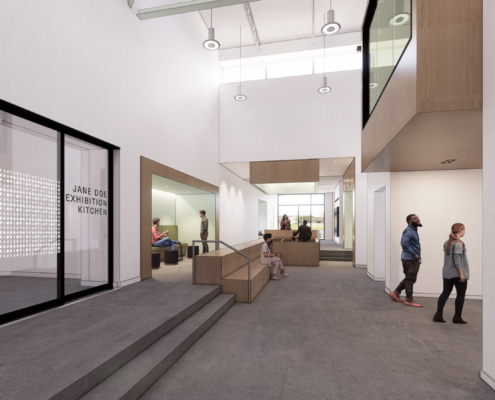 rendering of prefunction area Second Harvest Food Bank renovations and additions | DonahueFavret General Contractor | Louisiana and Gulf South