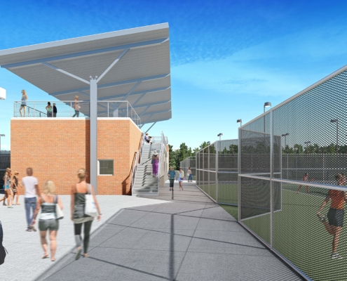 tennis courts, walkway and stairs rendering of TRHS Wellness Center Phase II Sports Complex | DonahueFavret General Contractor | Louisiana and Gulf South