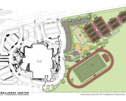 Site plan of Thibodaux Regional Wellness Center Phase II Sports Complex | DonahueFavret General Contractor | Louisiana and Gulf South