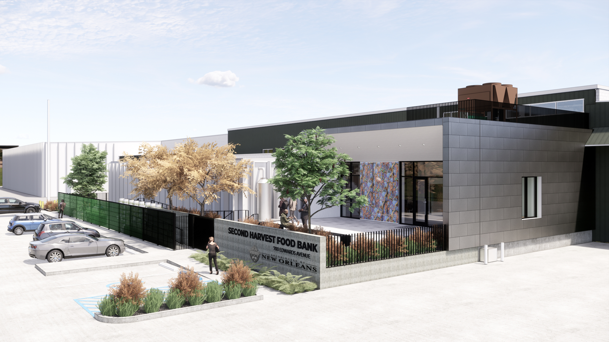 rendering of front of Second Harvest Food Bank | DonahueFavret General Contractor | Louisiana and Gulf South