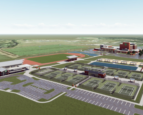 aerial perspective site plan of TRHS Wellness Center Phase II Sports Complex | DonahueFavret General Contractor | Louisiana and Gulf South