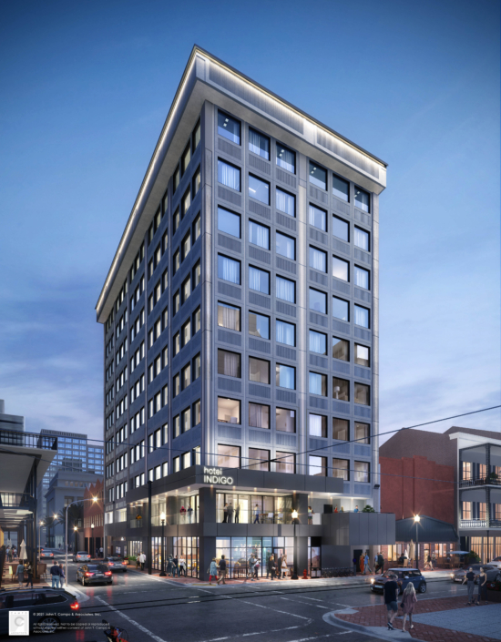 Rendering of Hotel Indigo | DonahueFavret General Contractor | Louisiana and Gulf South