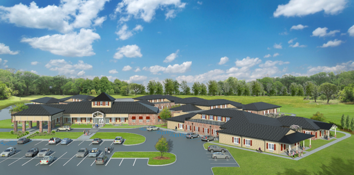 Rendering of exterior of Natchitoches Community Care Center | DonahueFavret General Contractor | Louisiana and Gulf South