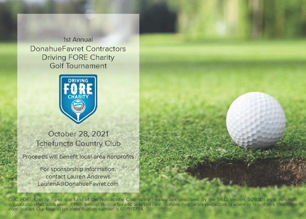 flier for Driving Fore Charity golf tournament with information, golf ball and hole   DonahueFavret General Contractor   Louisiana and Gulf South