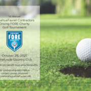 flier for Driving Fore Charity golf tournament with information, golf ball and hole | DonahueFavret General Contractor | Louisiana and Gulf South